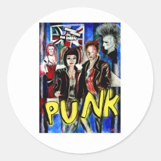arte, música de punk rock, moda y estilo pegatina redonda