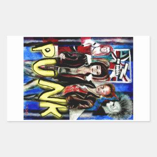 arte, música de punk rock, moda y estilo pegatina rectangular