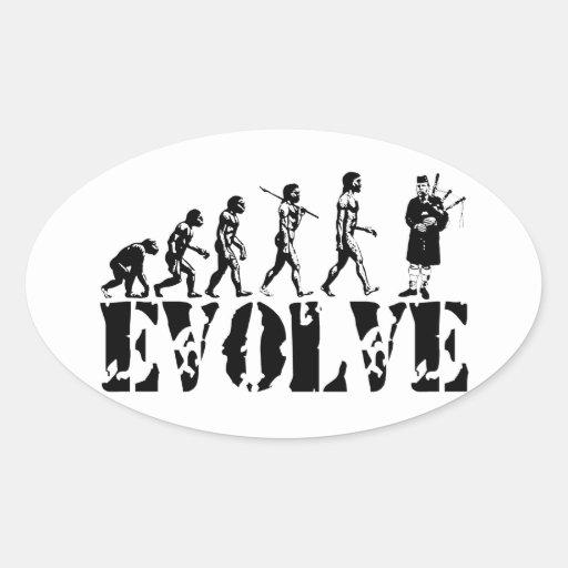 Arte musical de la evolución del gaitero de los pegatina ovalada