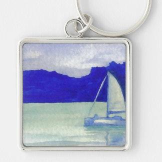 Arte navegante fácil tranquilo del océano de llavero cuadrado plateado