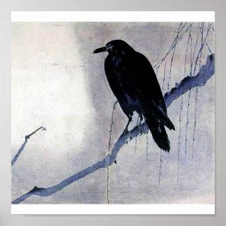 Arte negro de la antigüedad del cuervo del pájaro posters