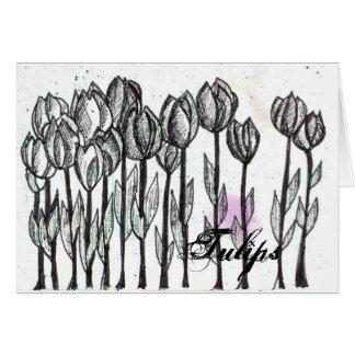 Arte negro de la flor de la pluma y de la tinta de tarjeta de felicitación