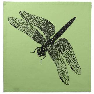 Arte negro de la naturaleza de la libélula del servilleta