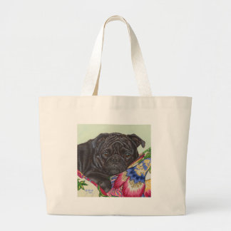 Arte negro de la pintura del perro del barro amasa bolsa tela grande