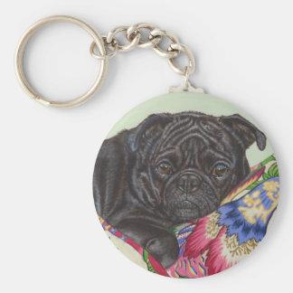 Arte negro de la pintura del perro del barro amasa llavero redondo tipo pin