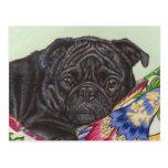 Arte negro de la pintura del perro del barro amasa postales