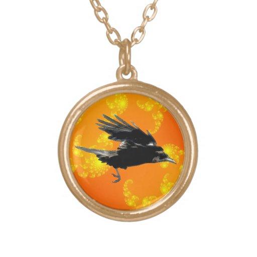 Arte negro del cuervo que vuela para Birdlovers Colgante Redondo