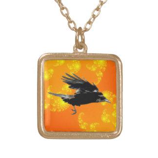 Arte negro del cuervo que vuela para Birdlovers Colgante Cuadrado