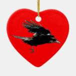 Arte negro del cuervo que vuela para Birdlovers Adornos De Navidad