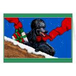 Arte negro del navidad del caniche tarjeta