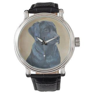 arte negro del realista del retrato del perro de relojes de mano