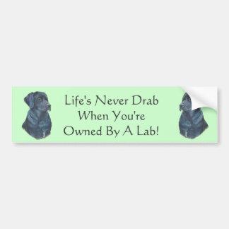 arte negro del retrato del perro de Labrador con l Pegatina De Parachoque