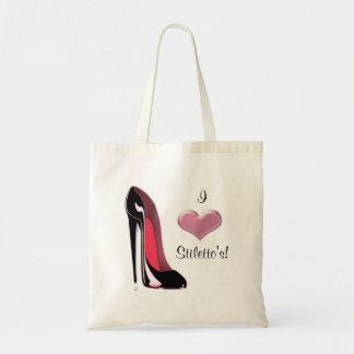 Arte negro del zapato del estilete bolsa tela barata