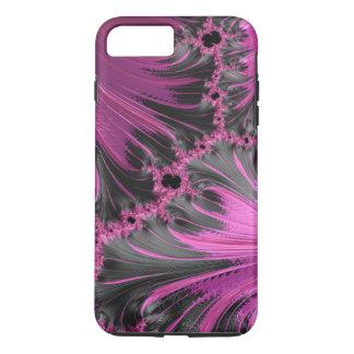 Arte negro fucsia del fractal de la pluma del funda iPhone 7 plus