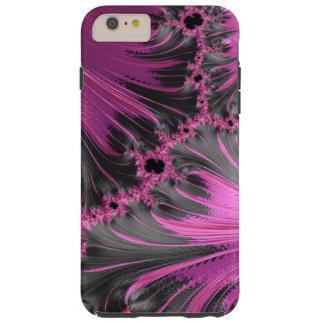 Arte negro fucsia del fractal de la pluma del funda resistente iPhone 6 plus