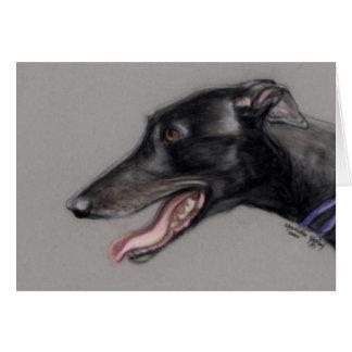 Arte negro Notecard del perro del galgo Tarjeta Pequeña