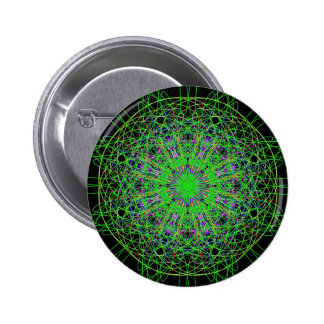 Arte negro verde de la mandala del caleidoscopio pin redondo de 2 pulgadas