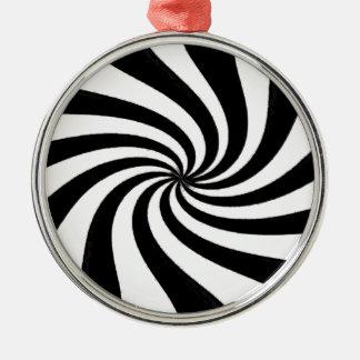 Arte negro y blanco contemporáneo adorno navideño redondo de metal