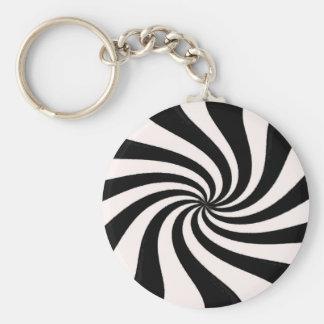 Arte negro y blanco contemporáneo llavero redondo tipo pin