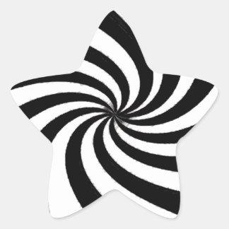 Arte negro y blanco contemporáneo pegatina en forma de estrella