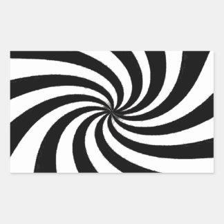 Arte negro y blanco contemporáneo pegatina rectangular