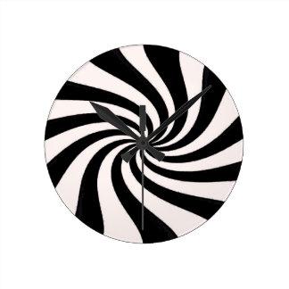 Arte negro y blanco contemporáneo reloj redondo mediano