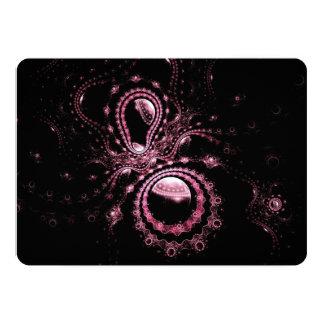 """Arte negro y rosado del fractal invitación 5"""" x 7"""""""