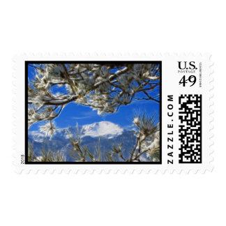 Arte nevado del fractal del invierno máximo de los timbre postal
