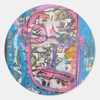arte no divino por el barro pegatina redonda