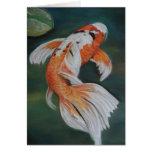 Arte Notecard de los pescados de Koi de la maripos Felicitaciones