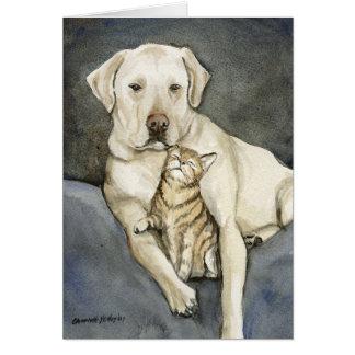 Arte Notecard del perro del laboratorio y del gat