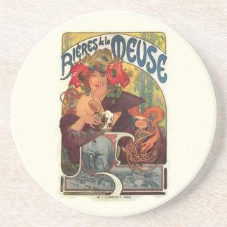 Arte Nouveau Alfonso Mucha del vintage Posavasos Cerveza
