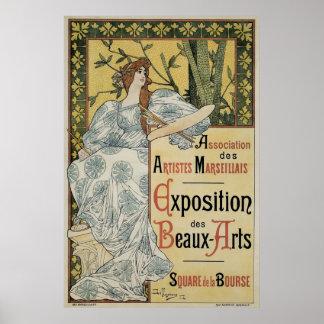 Arte Nouveau, artista del vintage de la mujer con Póster