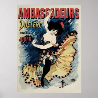 Arte Nouveau, bailarín español del vintage del Póster