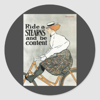 Arte Nouveau, bicicletas del vintage de las popas Pegatina Redonda