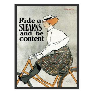 Arte Nouveau, bicicletas del vintage de las popas Tarjetas Postales