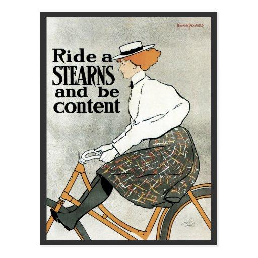 Arte Nouveau, bicicletas del vintage de las popas Postal