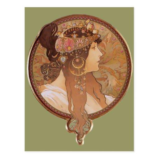 Arte Nouveau - cabeza bizantina, el Brunette Postales