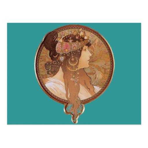 Arte Nouveau - cabeza bizantina, el Brunette Tarjeta Postal