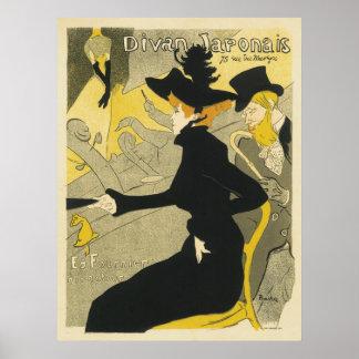 Arte Nouveau, café del vintage del club nocturno Póster
