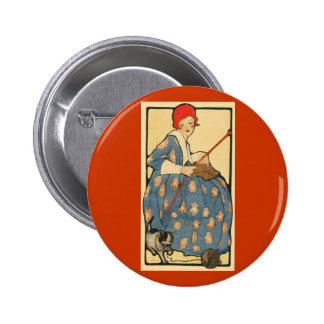 Arte Nouveau - chica que hace punto con su gato Pin Redondo 5 Cm