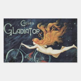 Arte Nouveau, ciclos del Victorian del vintage del Pegatina Rectangular