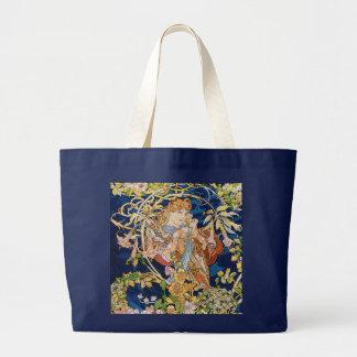 Arte Nouveau de Mucha: Mujer con la margarita Bolsa De Tela Grande
