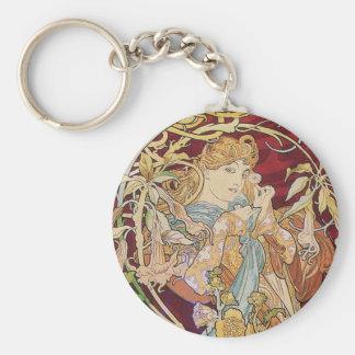 Arte Nouveau de Mucha: Mujer con la margarita Llavero Redondo Tipo Pin