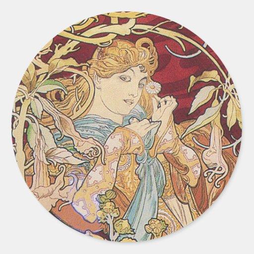 Arte Nouveau de Mucha: Mujer con la margarita Etiqueta