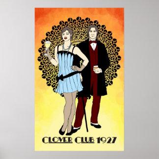 Arte Nouveau del club -1920s del trébol Póster