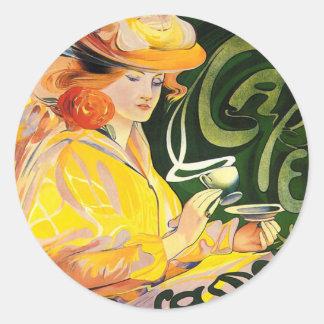 Arte Nouveau del ~ de Jacqmotte del café Pegatina Redonda