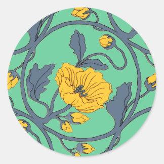 Arte Nouveau del diseño de la teja del vintage de Pegatina Redonda