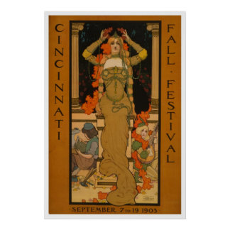 Arte Nouveau del festival de la caída de Cincinnat Posters