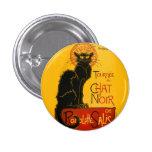 Arte Nouveau del gato negro del vintage de Le Chat Pin Redondo De 1 Pulgada